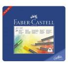 """Krāsainie zīmuļi Faber-Castell """"Art Grip"""" metāla penālī, 24 krāsas"""
