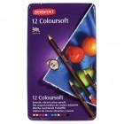 """Krāsainie zīmuļi Derwent """"Coloursoft"""" metāla penālī, 12 krāsas"""