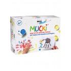 Pirkstiņkrāsas Mucki komplekts ar zīmējumiem.